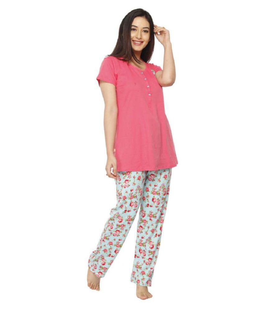 3b0c01559f Vixenwrap Punch Pink   Mint Green Floral Print Top   Pyjama Set - Buy  Vixenwrap Punch Pink   Mint Green Floral Print Top   Pyjama Set Online at  Best Prices ...