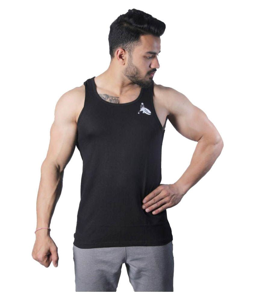 GreyWolf Fitness Black Cotton Blend T-Shirt