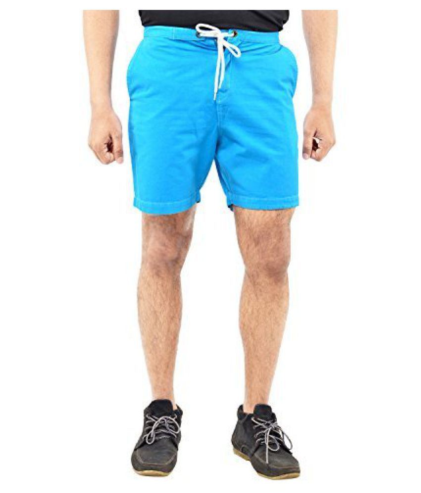 Blue WaveWashed Blue Cotton Solid Shorts for Men (Deal of the Month)