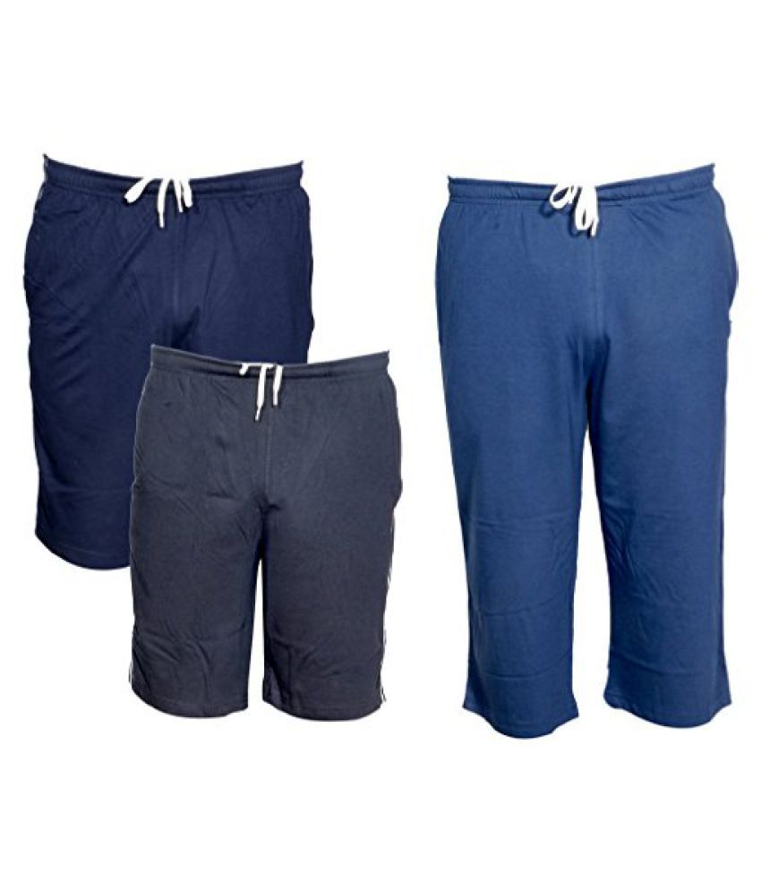 Indistar Mens 1 Cotton 3/4 Capri and 2 Shorts/Barmuda Combo Offer (Pack of 3)