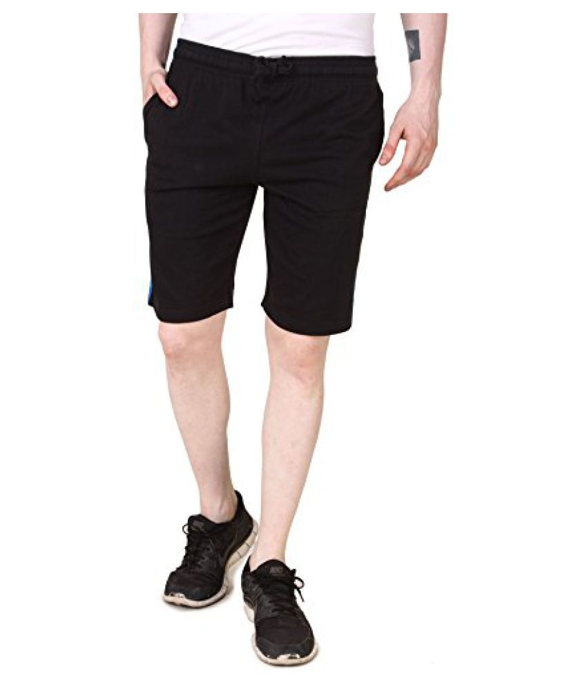 Aventura Outfitters Mens Single Jersey Shorts with Blue Stripes (Black)