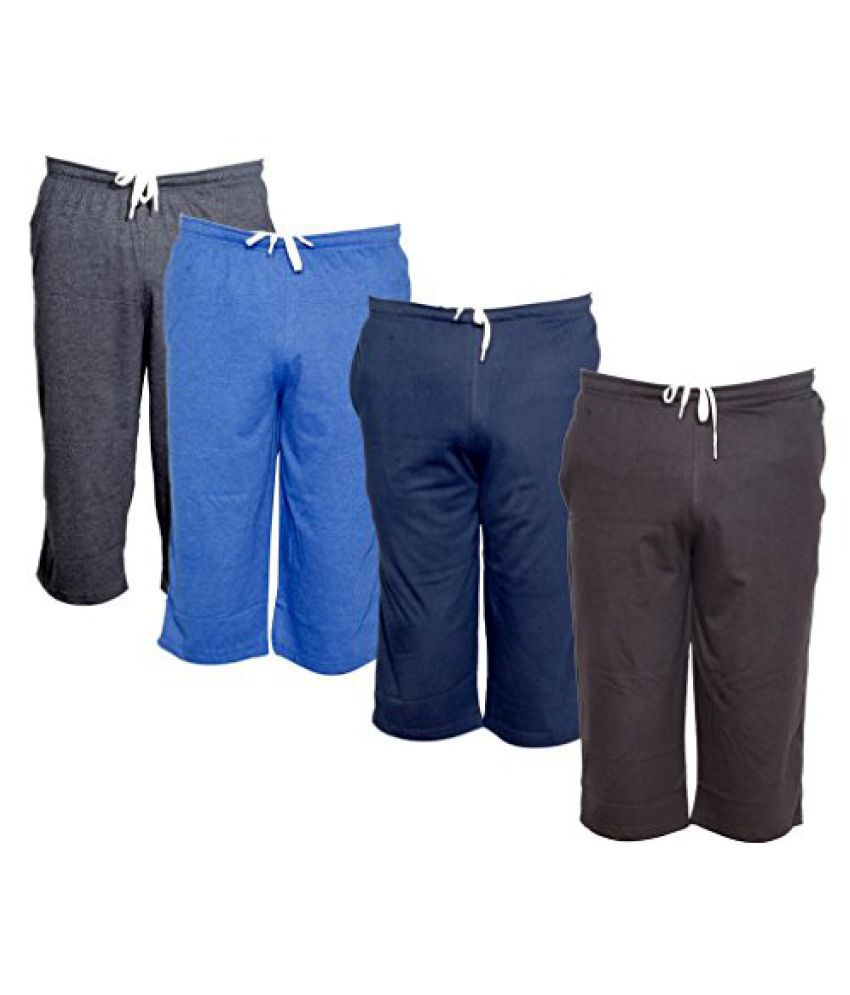 IndiWeaves Men's Regular Fit Casual Capri (Pack of-4)_Grey::Blue::Blue::Brown _Size-38