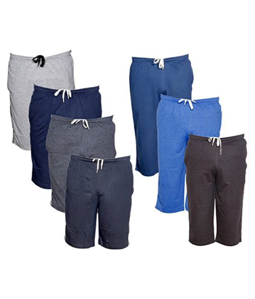 IndiWeaves Mens 3 Cotton 3/4 Capri and 4 Shorts/Barmuda Combo Offer (Pack of 7)