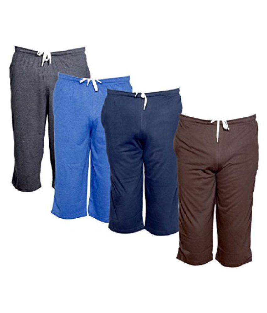 Indistar Men's Regular Fit Casual Capri (Pack of-4)_Grey::Blue::Blue::Brown _Size-40