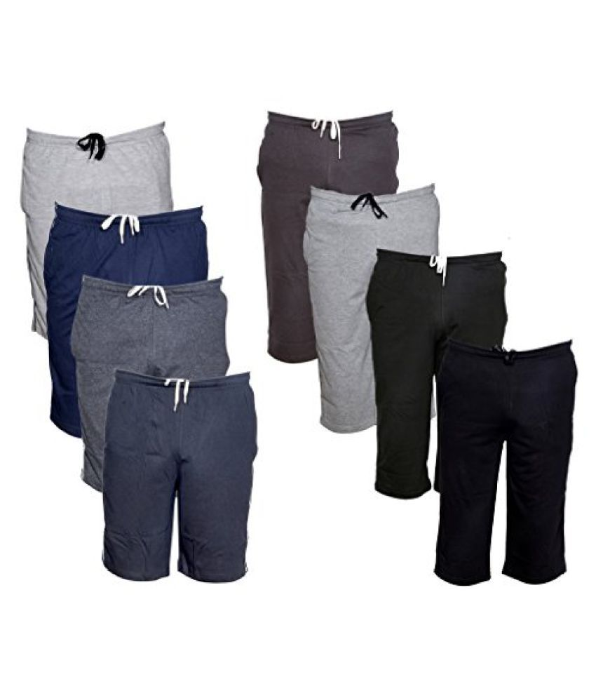 Indistar Mens 1 Cotton 3/4 Capri and 1 Shorts/Barmuda Combo Offer (Pack of 2)
