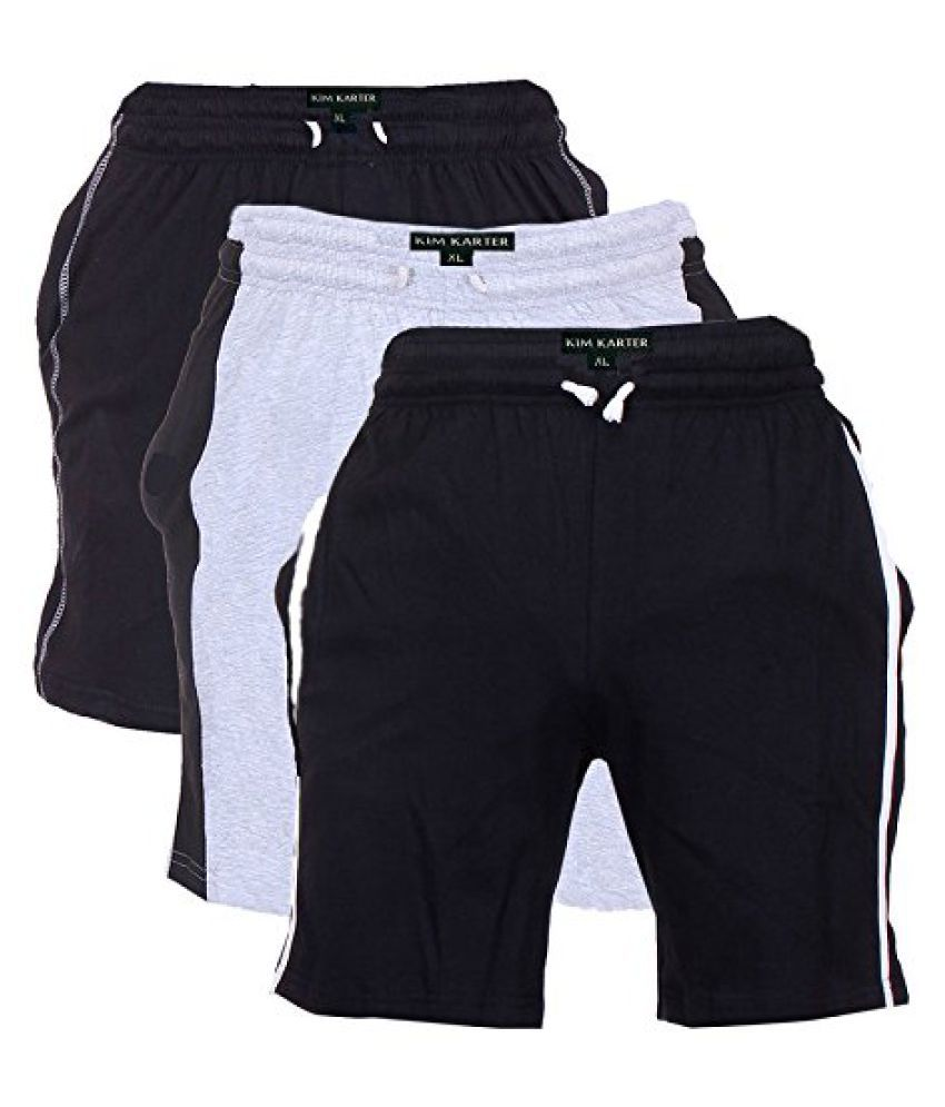 KimKarter Mens Cotton Shorts Pack of 3