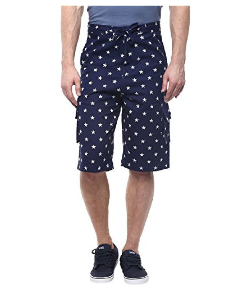 Blue Color Star Printed Cotton Shorts For Men