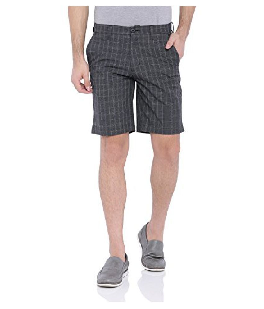 Blue Wave Dark Grey Checkered Casual Shorts for Men