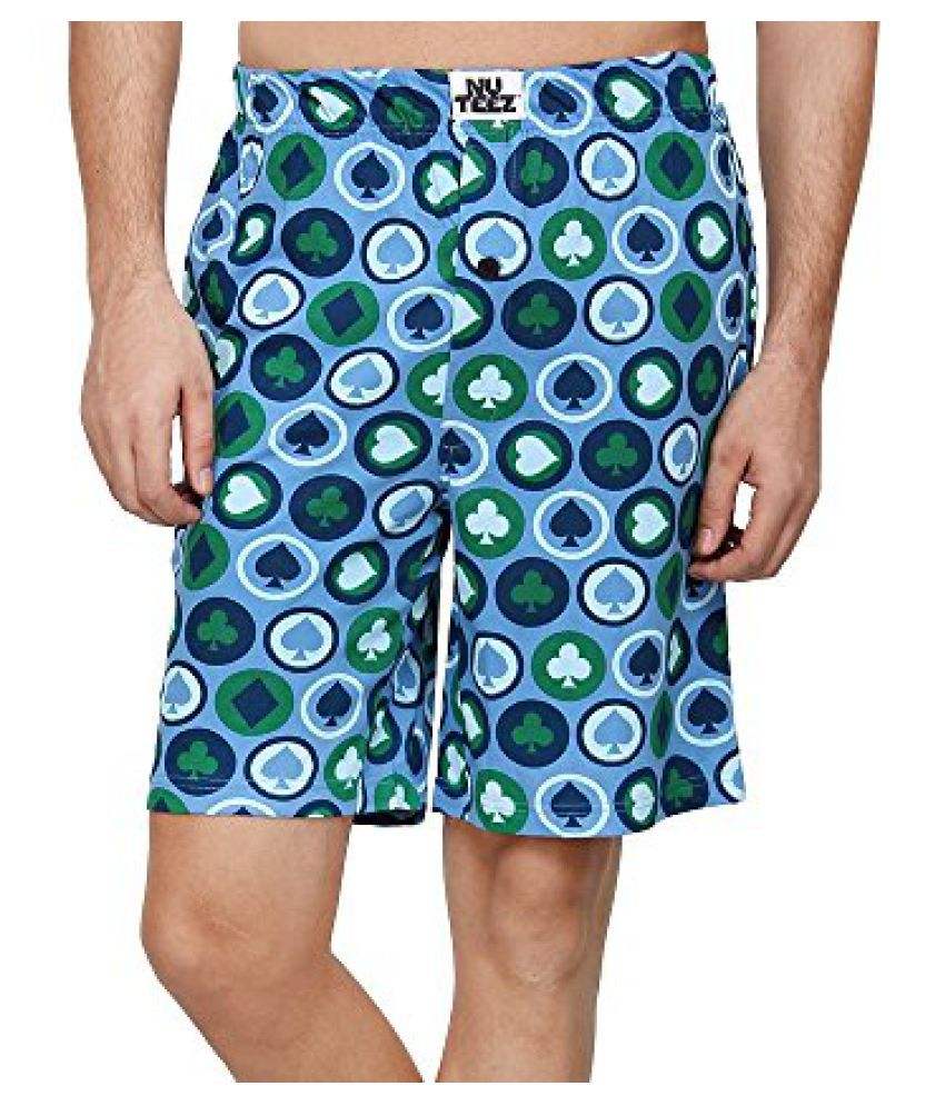 Nuteez Printed Blue Shorts For Mens