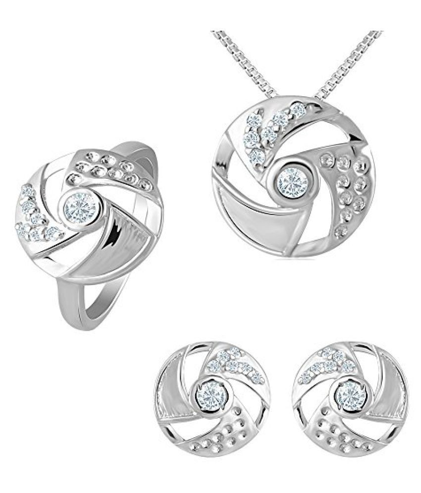 92.5 Sterling Silver Morning Glory Swarovski Zirconia Combo with Chain from Elysia Collection by Mahi NL3101020C