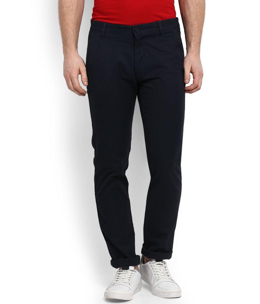 Izod Blue Slim Flat Trousers