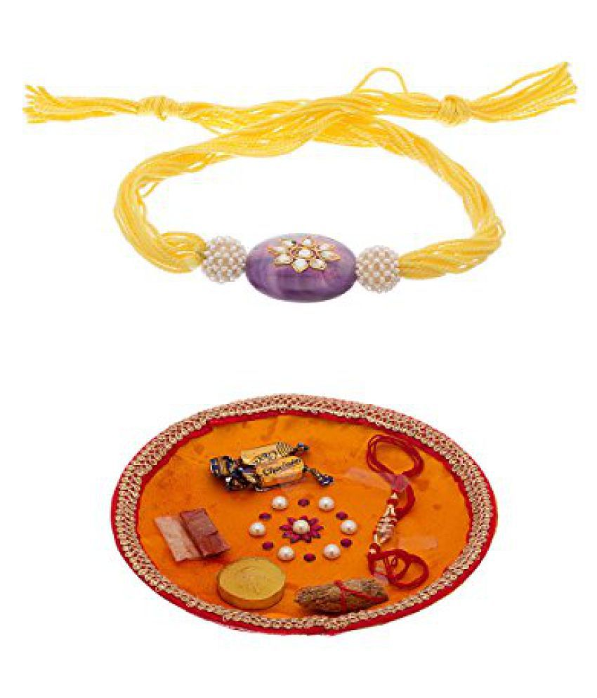Voylla Exclusive Rakhi Combo Pack Enclosing One Blue Stone Rakhi and One Rakhi Thali
