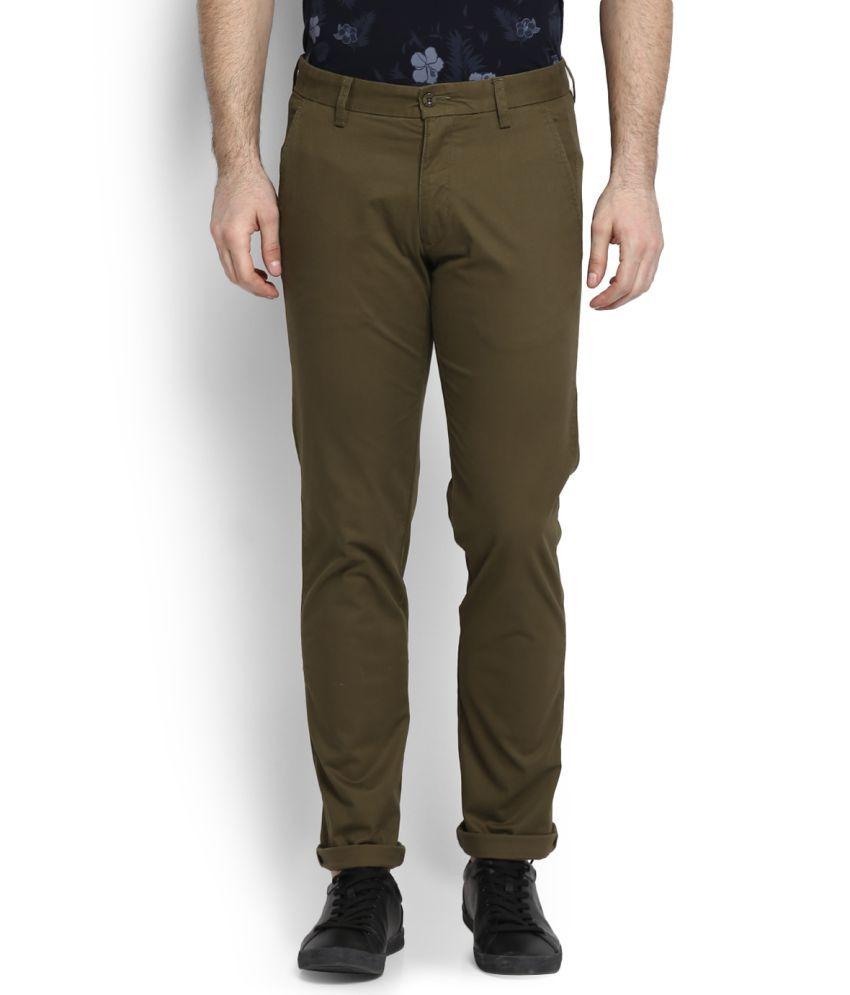 Izod Olive Green Slim Flat Trousers