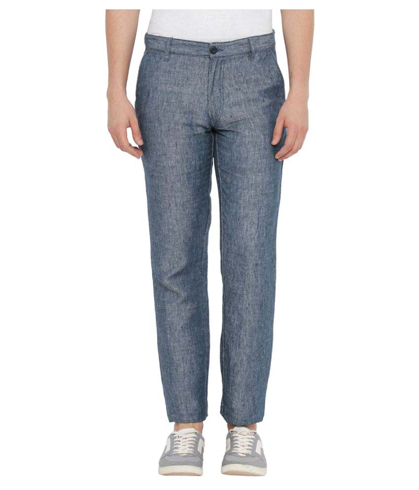 Parx Blue Slim Flat Trousers