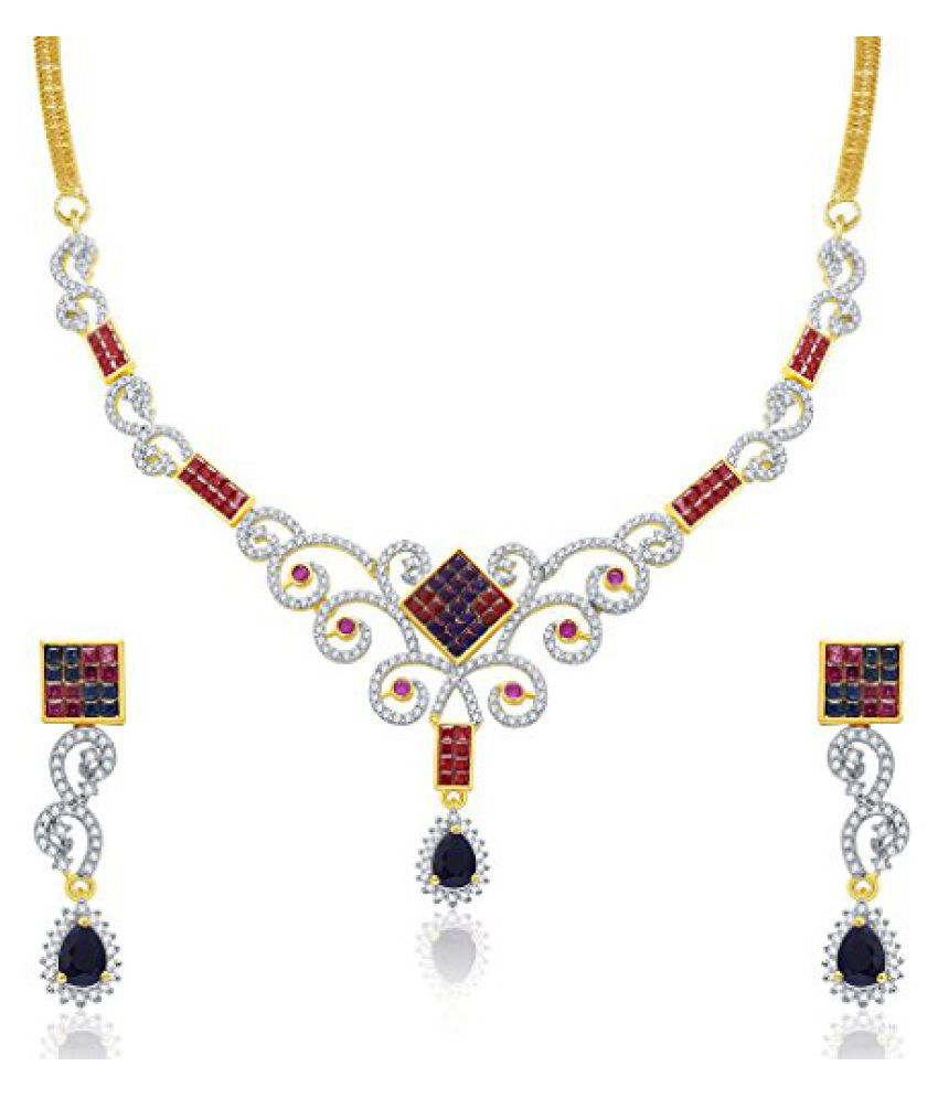 Sukkhi Luscious Gold And Rhodium Plated Ruby CZ Neklace Set For Women