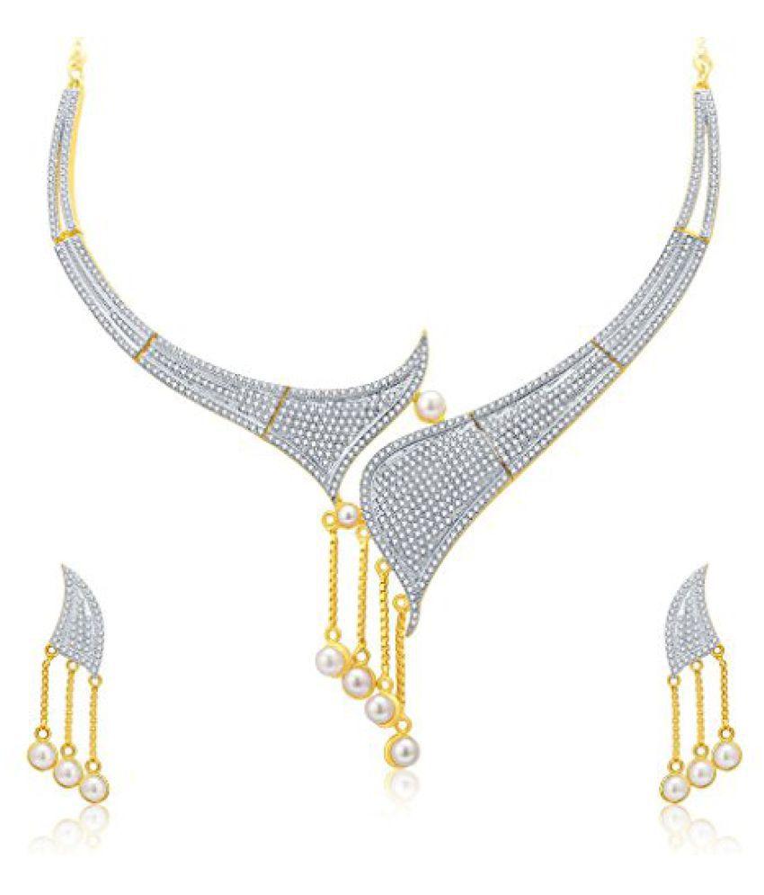 Sukkhi Splendid Gold And Rhodium Plated CZ Neklace Set For Women