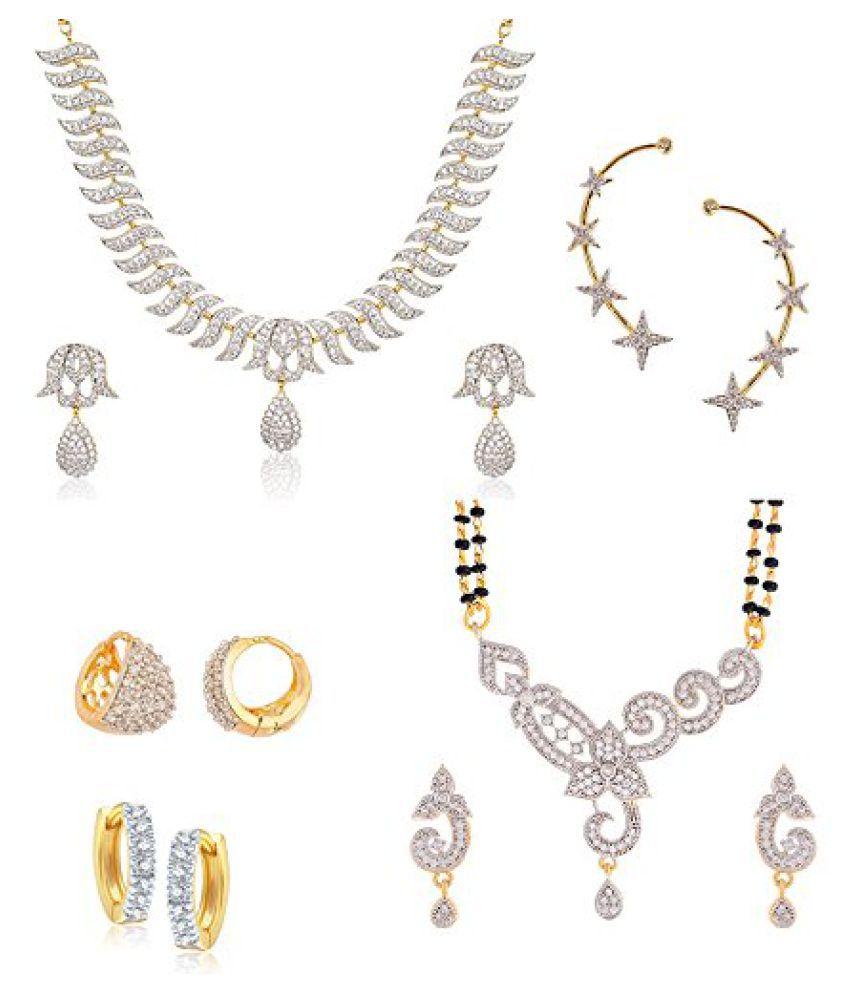 Zeneme Precious American Diamond Necklace Set, Earcuff , Designer Earrings & Mangalsutra Combo set