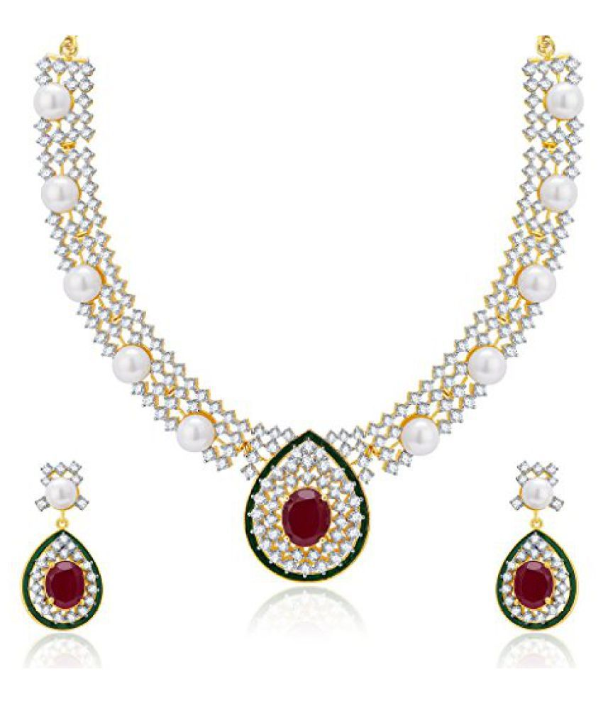 Sukkhi Marvellous Gold And Rhodium Plated Ruby CZ Neklace Set For Women