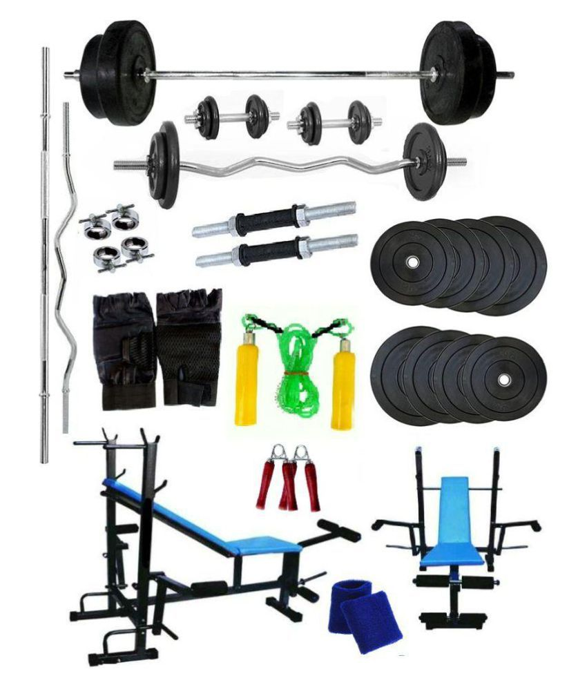 Venom Home Gym with 64 Kg. Weight Plates, Dumbell Rods, Straight Rod, Curl Rod, 8 in 1 Bench, Gym Gloves, Skipping Rope, Wrist Band and Hand Gripper