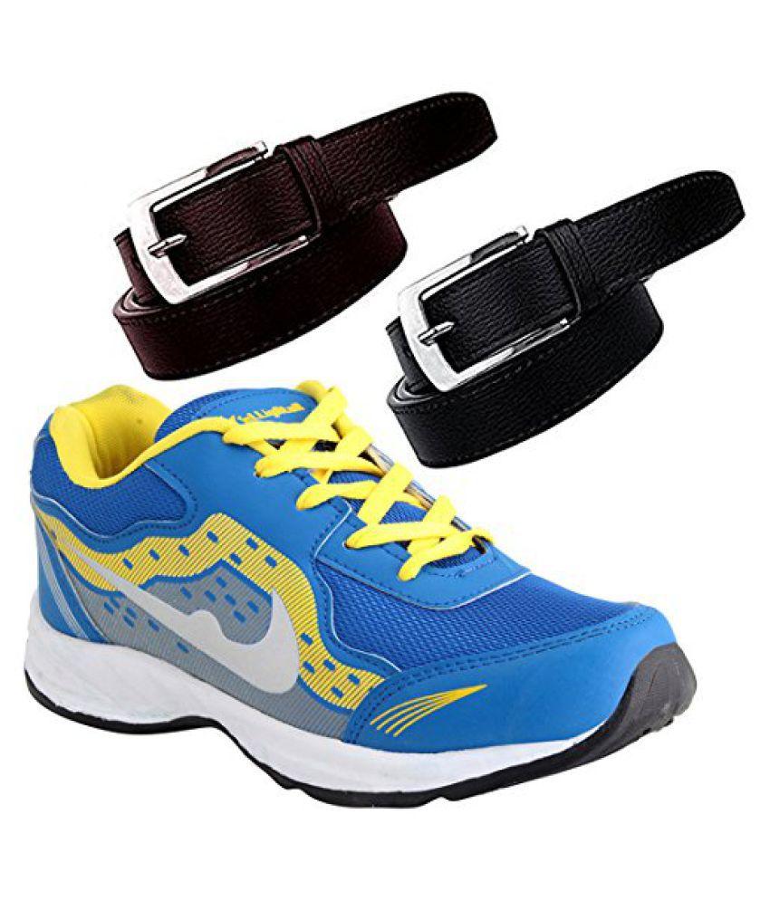 Elligator Sports Shoes With Black & Brown Belt Combo For Men (One Sports Shoes,Two Belt Combo)