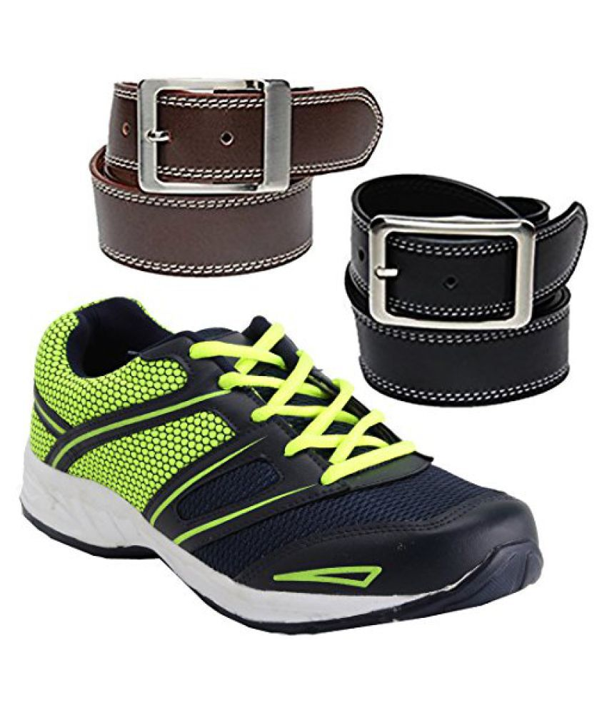 Elligator Sports Shoes With Black & Brown Belt Combo For Men (One Sports Shoes,Two Belt Combo)