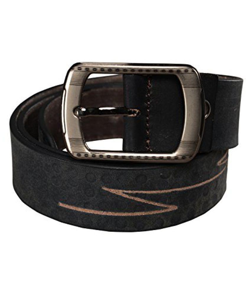 GetAbhi Black Leather Casual Belts