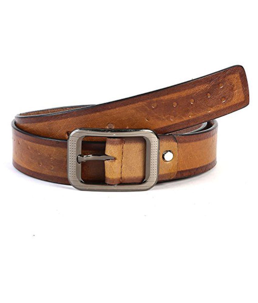 Leather Junction Brown Trendy Belt For Men Size-32