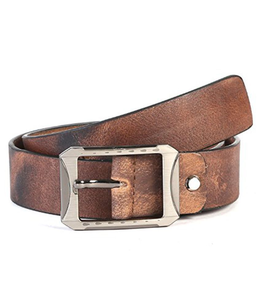Leather Junction Cognac Belt For Men Size-28