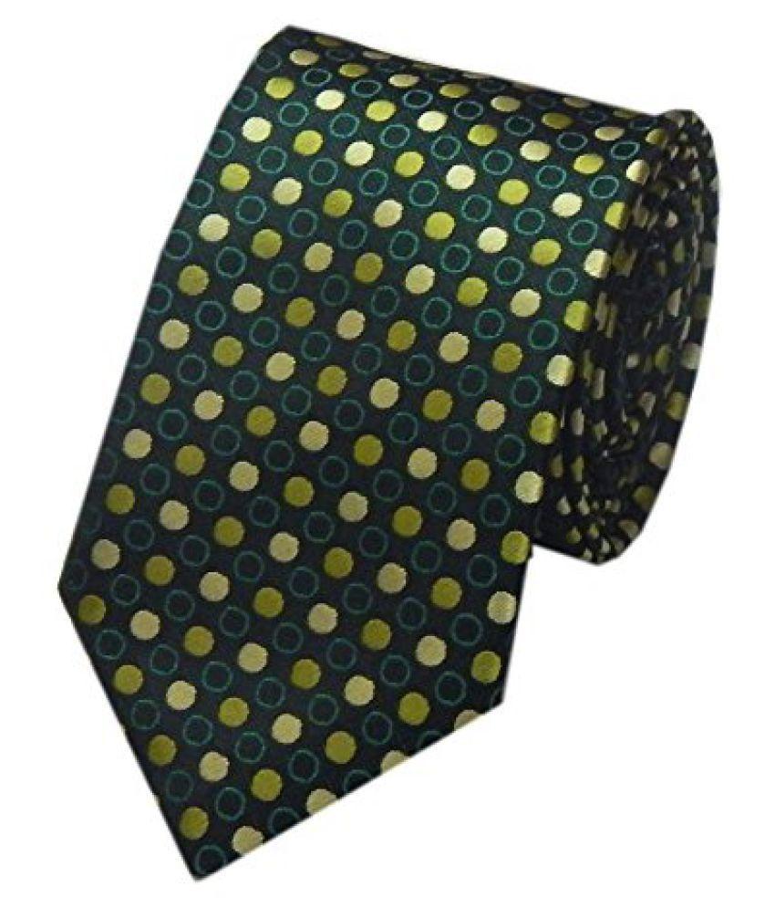 Navaksha Rusty Green Micro Fiber Squares Design Slim Tie