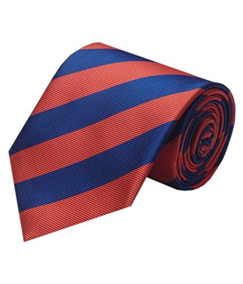 Navaksha Mauve Red Color Micro Fibre Blue Stripes Design Tie