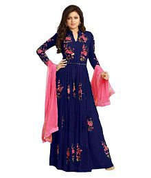 Fashionsurat Blue Georgette Anarkali Gown Semi-Stitched Suit