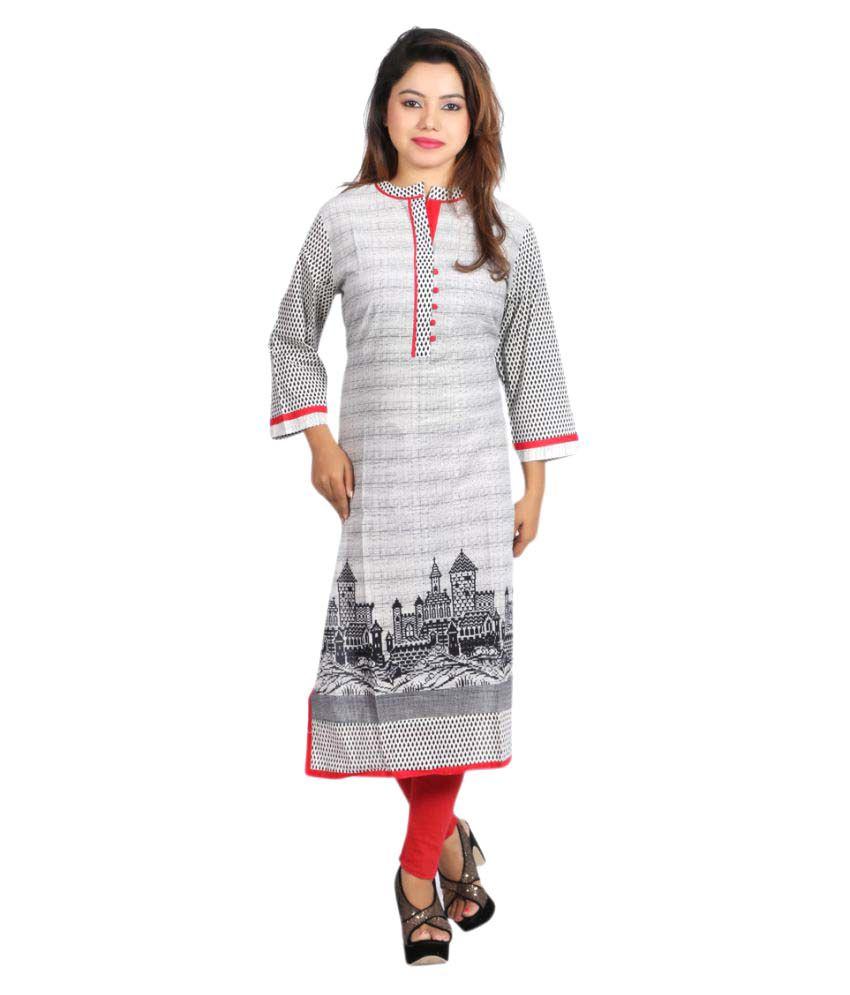 Fashion World Grey Cotton Straight Kurti