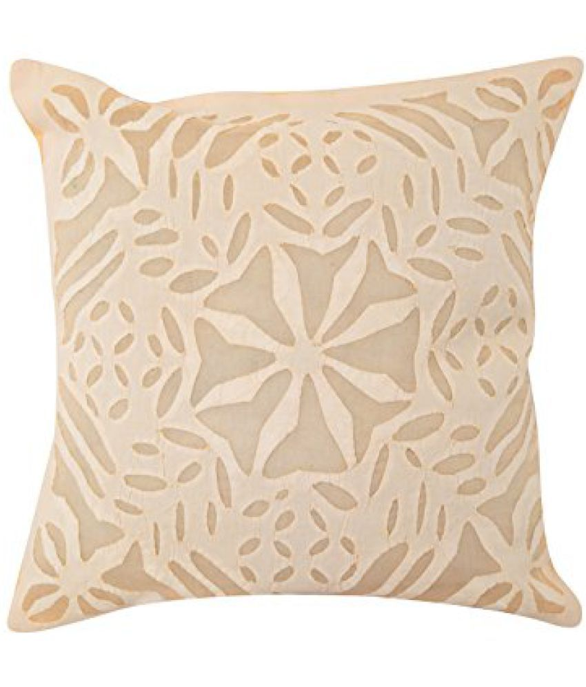 Living Room Accessories Cream Single Handmade Cushion Cover 17x17 Abstract Applique Work Pillow Covers Vintage Cotton Throw Pillow By Rajrang