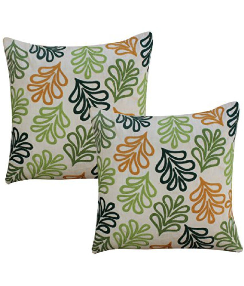 DEKOR WORLD Leaf Embroidery Cushion Cover (Pack Of 2)(16
