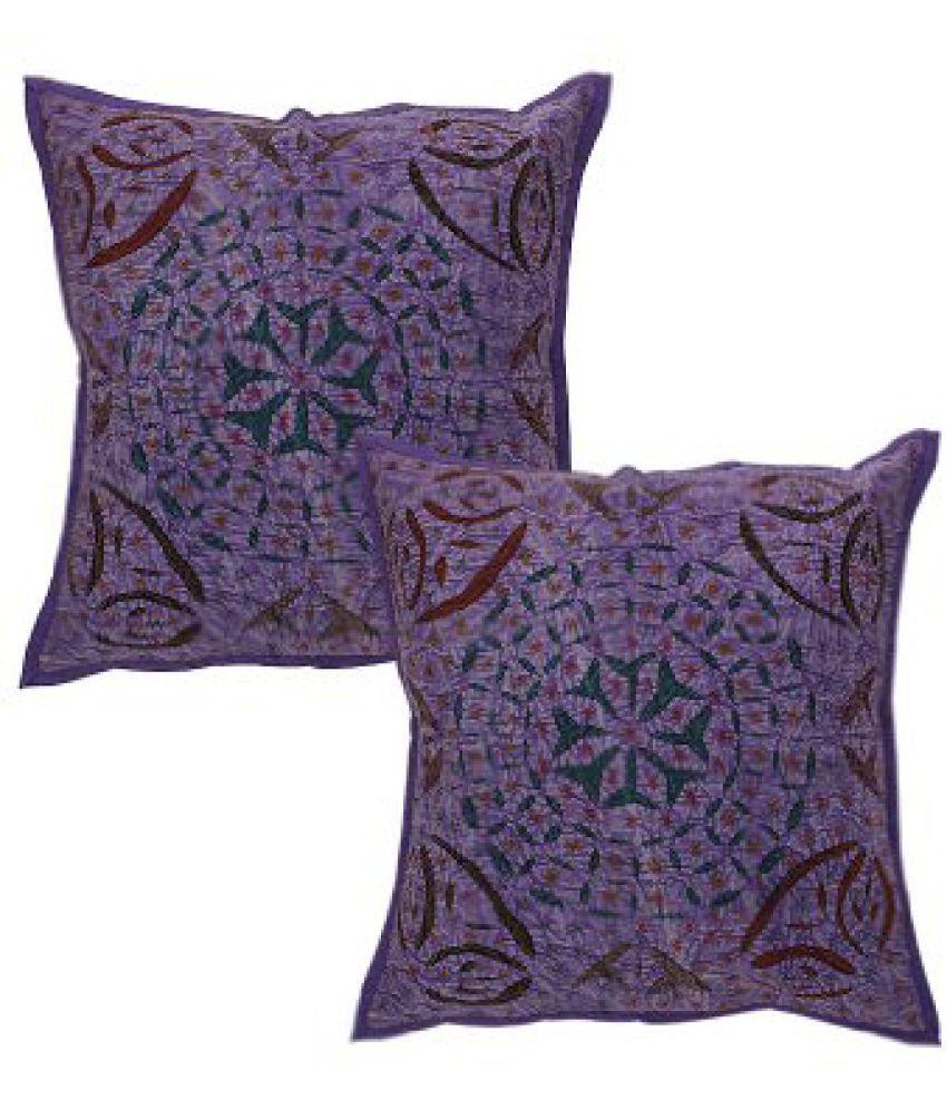 Rajrang Purple Cotton Applique Work Cushion Cover Set Of 2 Pcs #Ccs06057