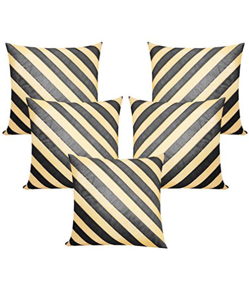 Stripy Black N Beige Cushion Covers 50x50 Cms (Set of 5)