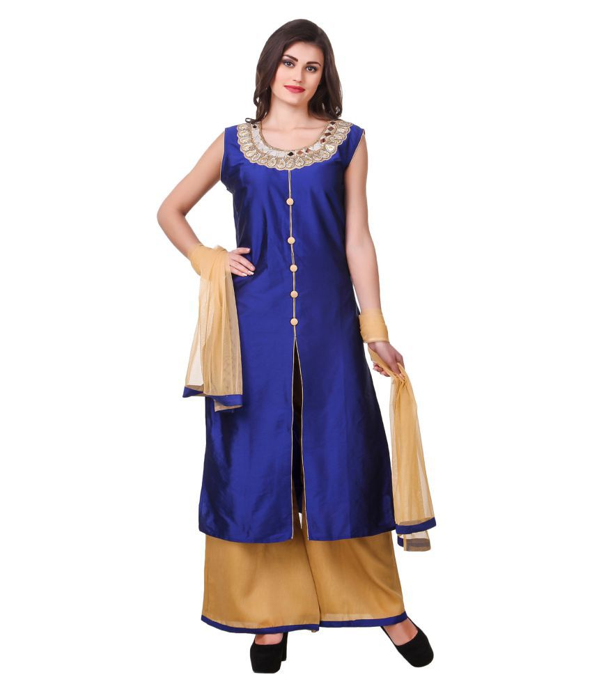 Fasense Blue Silk Straight Stitched Suit