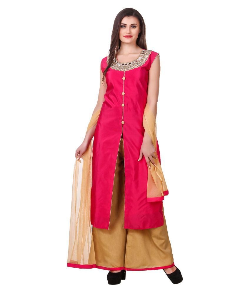 Fasense Pink Silk Straight Stitched Suit