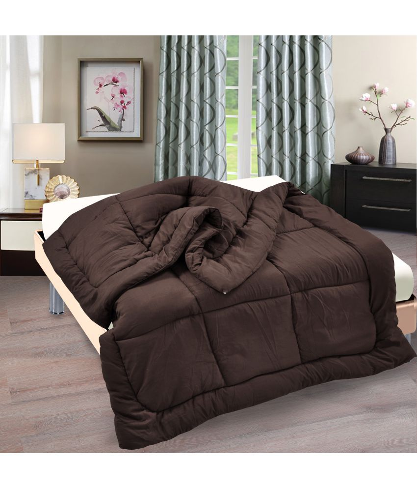 Ahmedabad Cotton Double Polyester Plain Brown Comforter