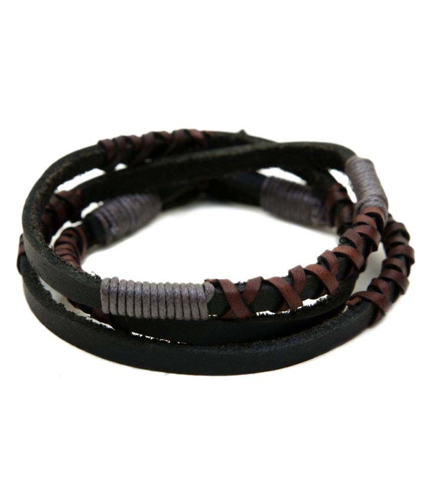 Ayesha Fashions Black Wrap Around Leather Bracelet