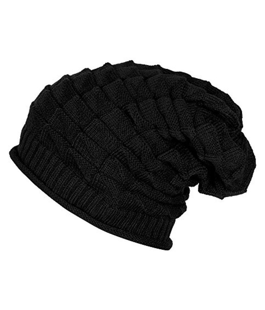 Black Knitted Slouchy Beanie
