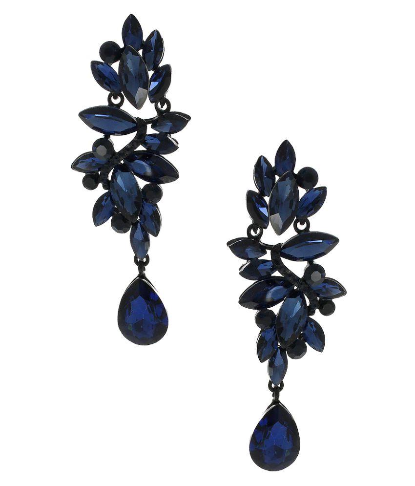 Anuradha Art Navy Blue Designer Classy Very Classy Trendy Fancy Long Earrings