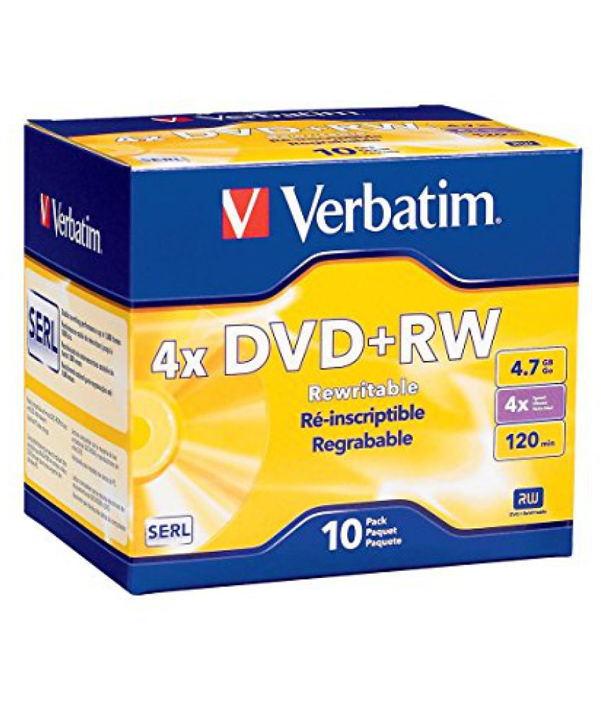 Verbatim 4.7 GB 1x- 4x ReWritable Disc DVD+RW, 10-Disc Slim Jewel Case 94839
