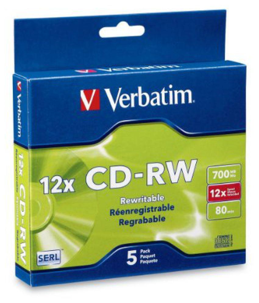 Verbatim 700 MB 4x-12x 80 Minute Silver Rewritable Disc CD-RW, 5-Disc Slim Case 95157