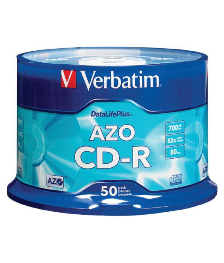 Verbatim 700 MB 52x DataLifePlus Branded Recordable Disc CD-R, 50-Disc Spindle 94523