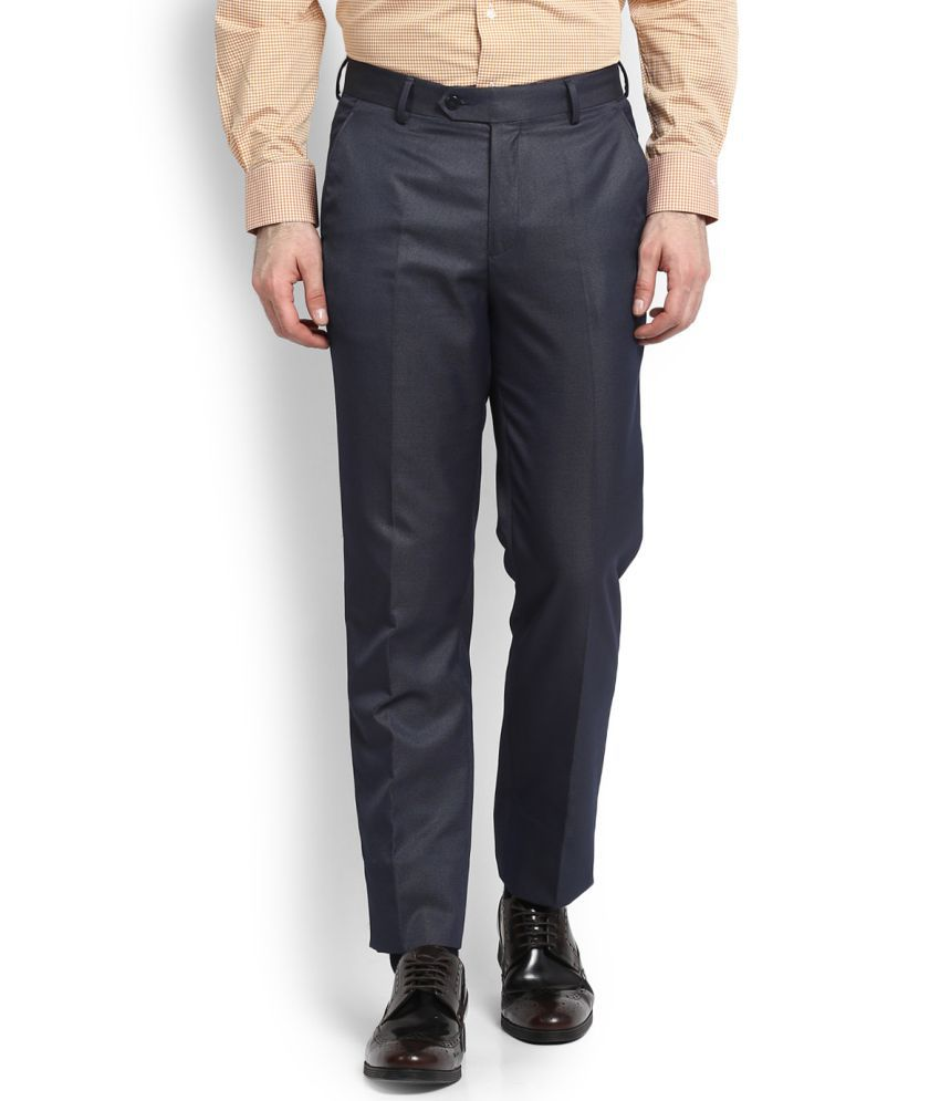 Peter England Blue Slim -Fit Flat Trousers