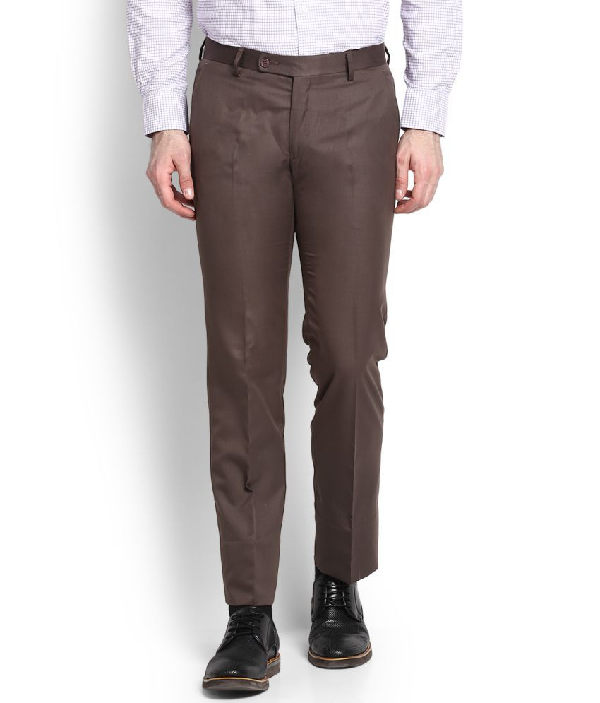 Arrow Brown Slim Flat Trousers