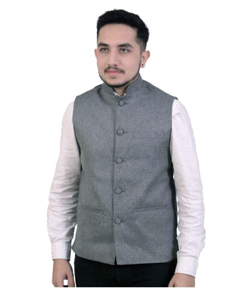 Fashion n Style Grey Solid Formal Waistcoats