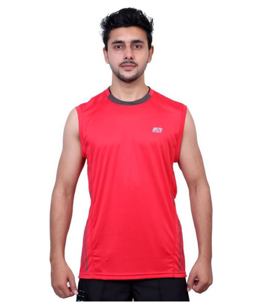 Vector X Solid Men's Sleeveless Round Neck Red T-Shirt