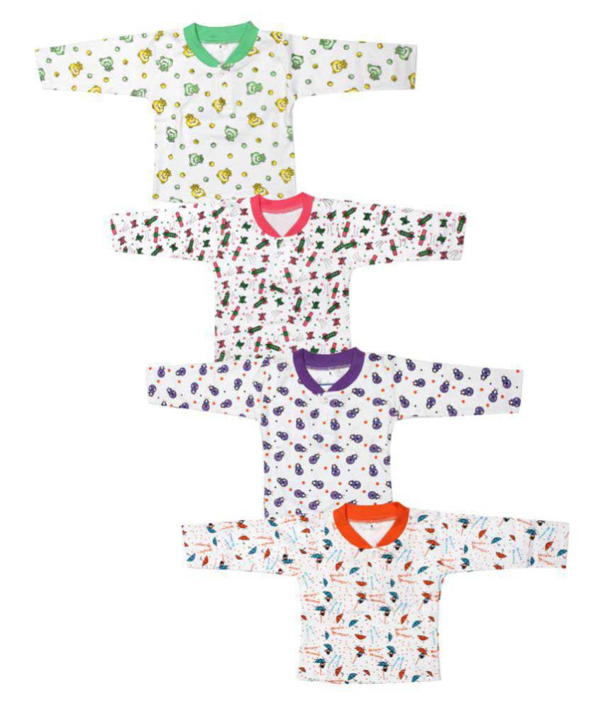 Babeezworld Cotton Front Open Full Sleeves T-shirt for Kids - Pack of 4